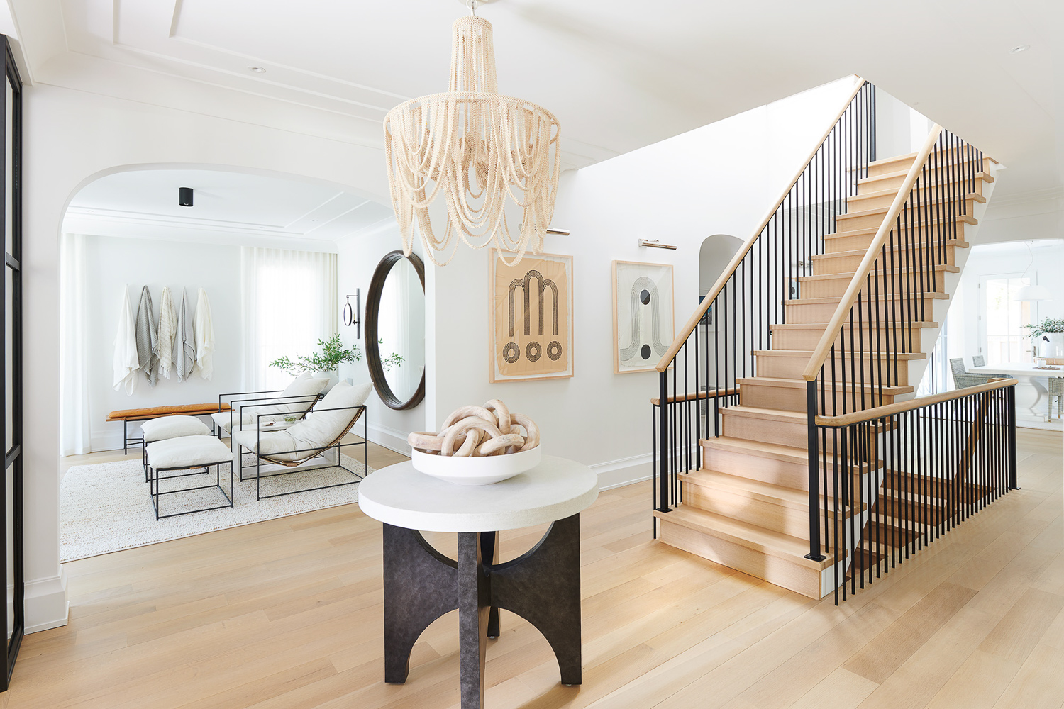 foyer floating staircase design build westfield nj